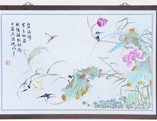 现代刺绣赏析—春燕荷花蜻蜓