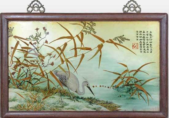 现代刺绣赏析—鹤立芦汀