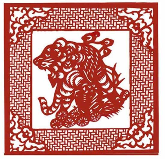 十二生肖剪纸欣赏——虎