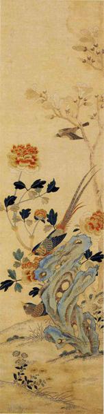 刺绣花鸟图屏—牡丹雉鸡