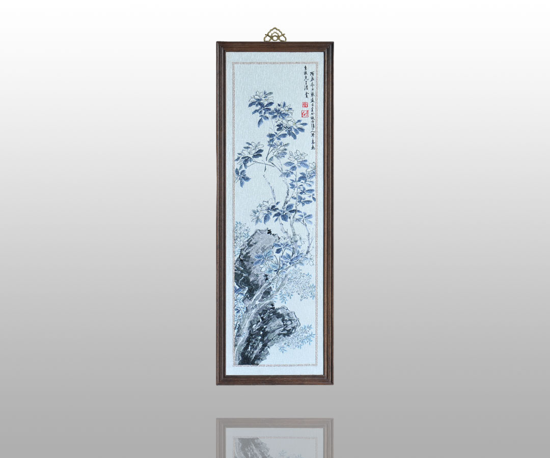 栀子花用淡墨勾画,树枝,拳石用没骨法以淡墨写出,花叶用花青渲染,淡墨