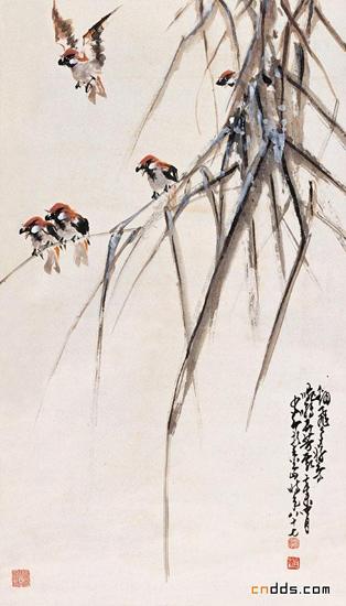 赵少昂花鸟画作品欣赏 绘画