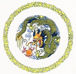 团龙 图案 团龙是龙纹的一种表现形式,以龙纹设于圆内,构成圆形的适合
