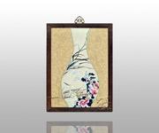 五彩芙蓉鹭鸶花瓶(米白)