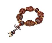 老挝红酸枝捂耳弥勒手链