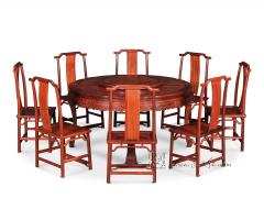 西番莲纹圆桌+双喜纹靠背椅九件套